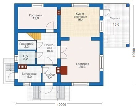 Дом из газобетонных блоков с облицовкой кирпичом 161,8 кв.м проект 55-60